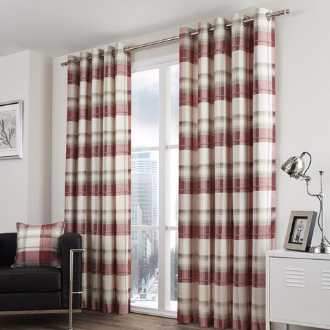 Clitheroe Check Ruby 100% Cotton Curtains