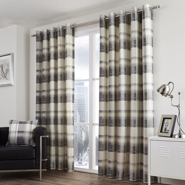 Clitheroe Check Slate Curtains