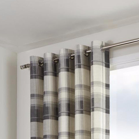 Clitheroe Check Slate 100% Cotton Curtains