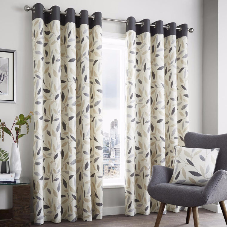Inglewood Charcoal Modern Leaf Ready-made Eyelet Lined Curtains