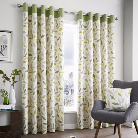 Inglewood Green Modern Leaf Ready-made Eyelet Lined Curtains