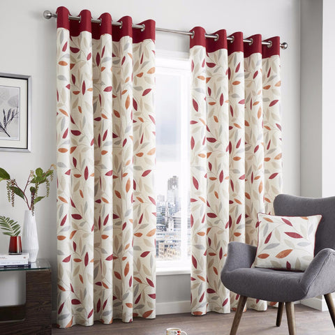 Inglewood Red Modern Leaf Ready-made Eyelet Lined Curtains