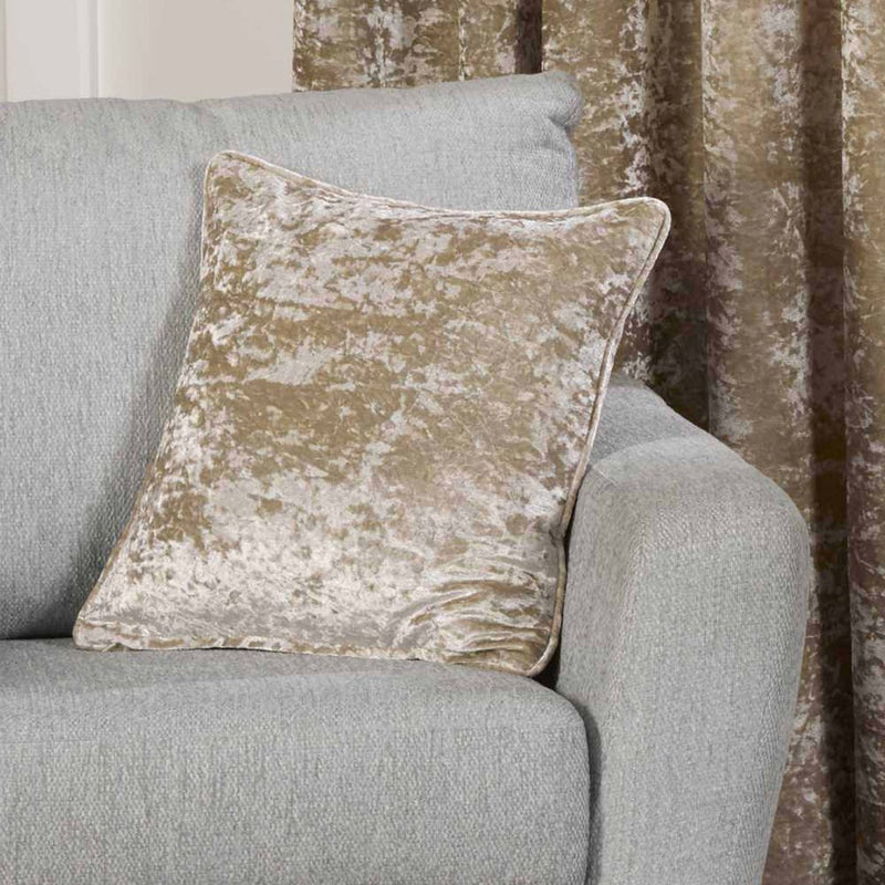 Crushed Velvet 17 x 17 Piped Golden Silk Cushions Covers - Bela Casa Home