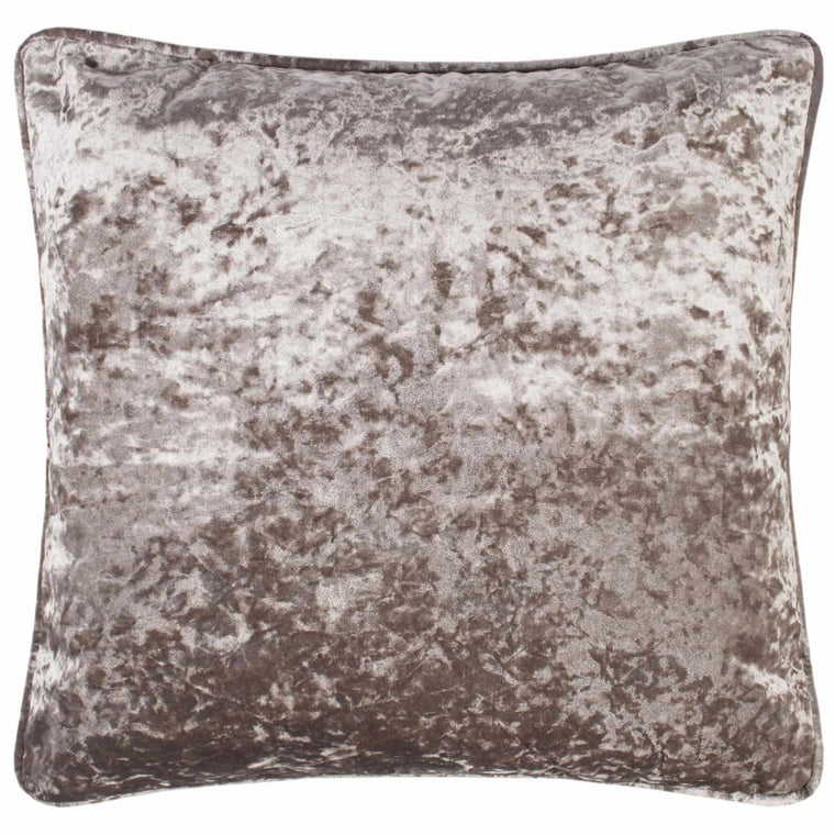 Crushed Velvet 17 x 17 Piped Champagne Cushions Covers
