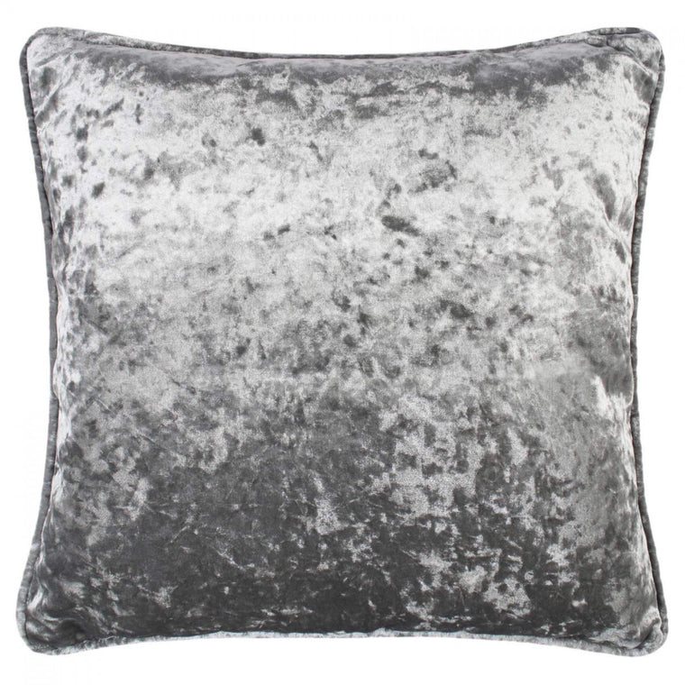 Crushed Velvet 17 x 17 Piped Silver Steel Cushions Covers