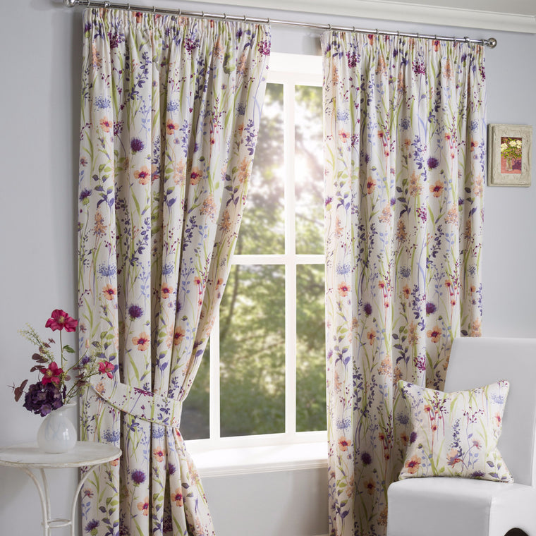Hampshire Floral Lined Pencil Pleat Curtains