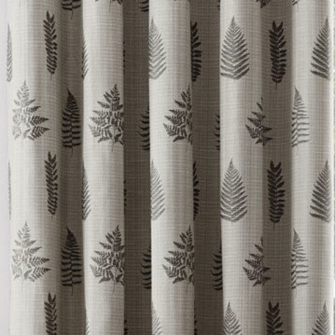 Bela casa Home Fern Leaf Curtain Charcoal Fabric