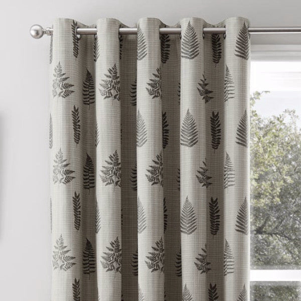 Bela casa Home Fern Leaf Curtain Charcoal Eyelets