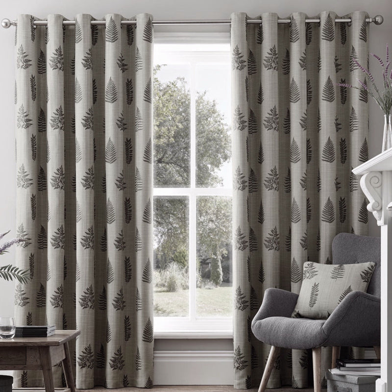 Bela casa Home Fern Leaf Curtain Charcoal