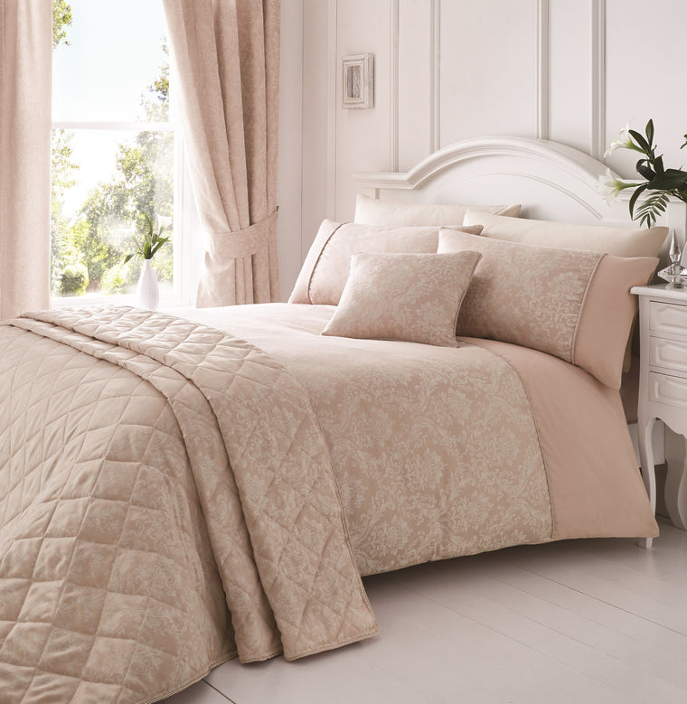 Laura Pink Damask Jacquard Bedding & Curtains
