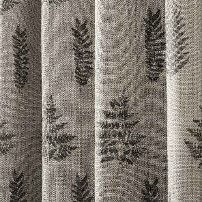 Bela casa Home Fern Leaf Curtain Charcoal Fabric Close up