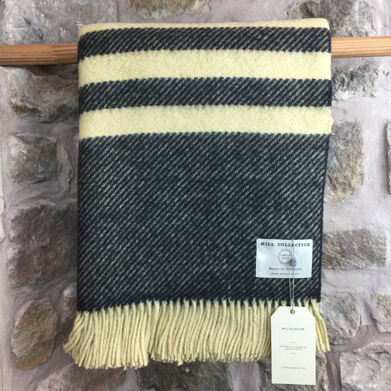 Moons Black and Yellow Stripe Pure New Wool Throw