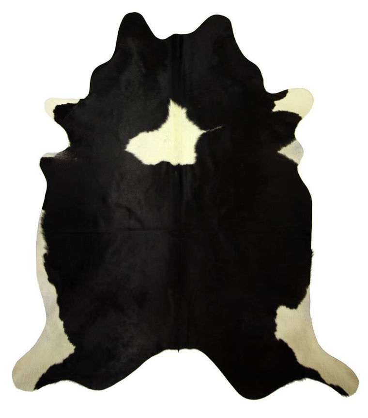 Natural Cowhide Rug - Extra Large Black & White with Spot.