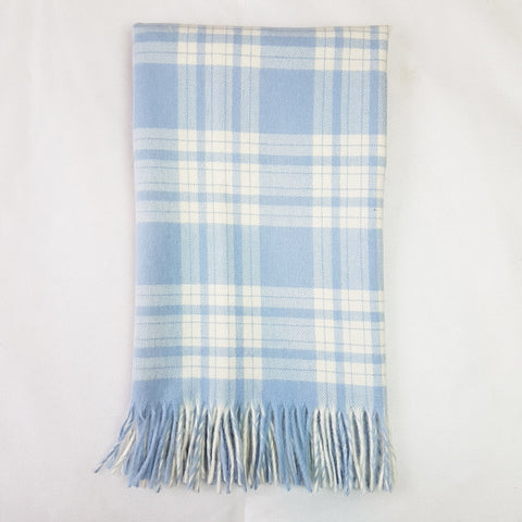 Bela Baby Blue Check Lambs Wool Blanket and Cushion
