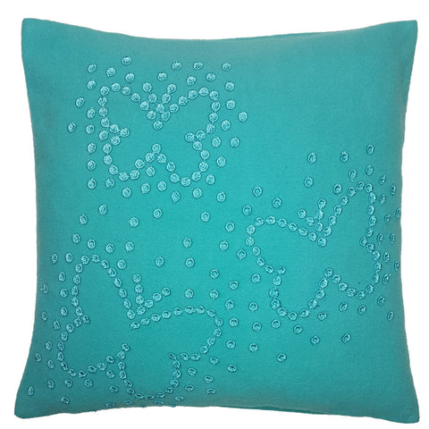 One Of A Kind Blue Embroidered Butterfly 43x43cm Cushion