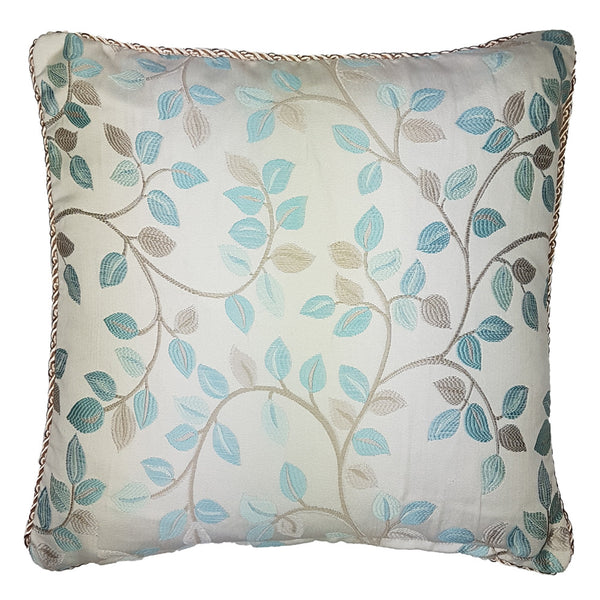 One Of A Kind Blue Vine Leaf 43x43cm Cushion