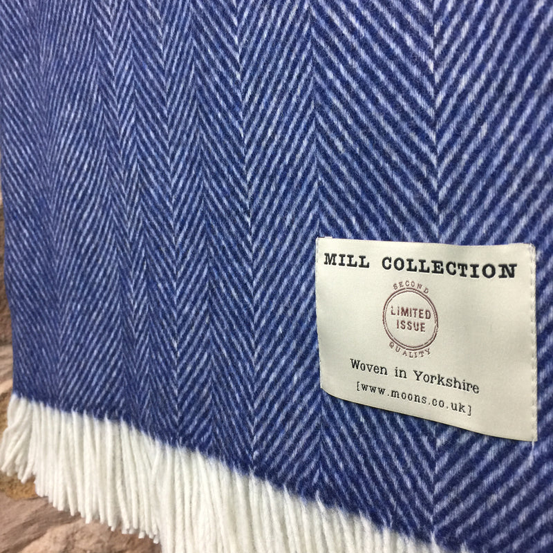 Blue Herringbone Lambs Wool Throw