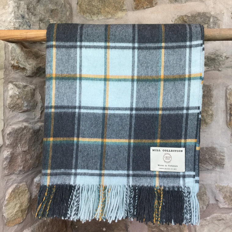 Blue and Ochre Tartan Check Lambs Wool Throw