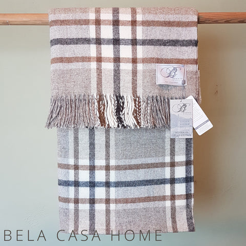 Bronte By Moon - Naturally Bronte Shetland Arnscliffe Beige Pure New Wool Throw and filled Cushion