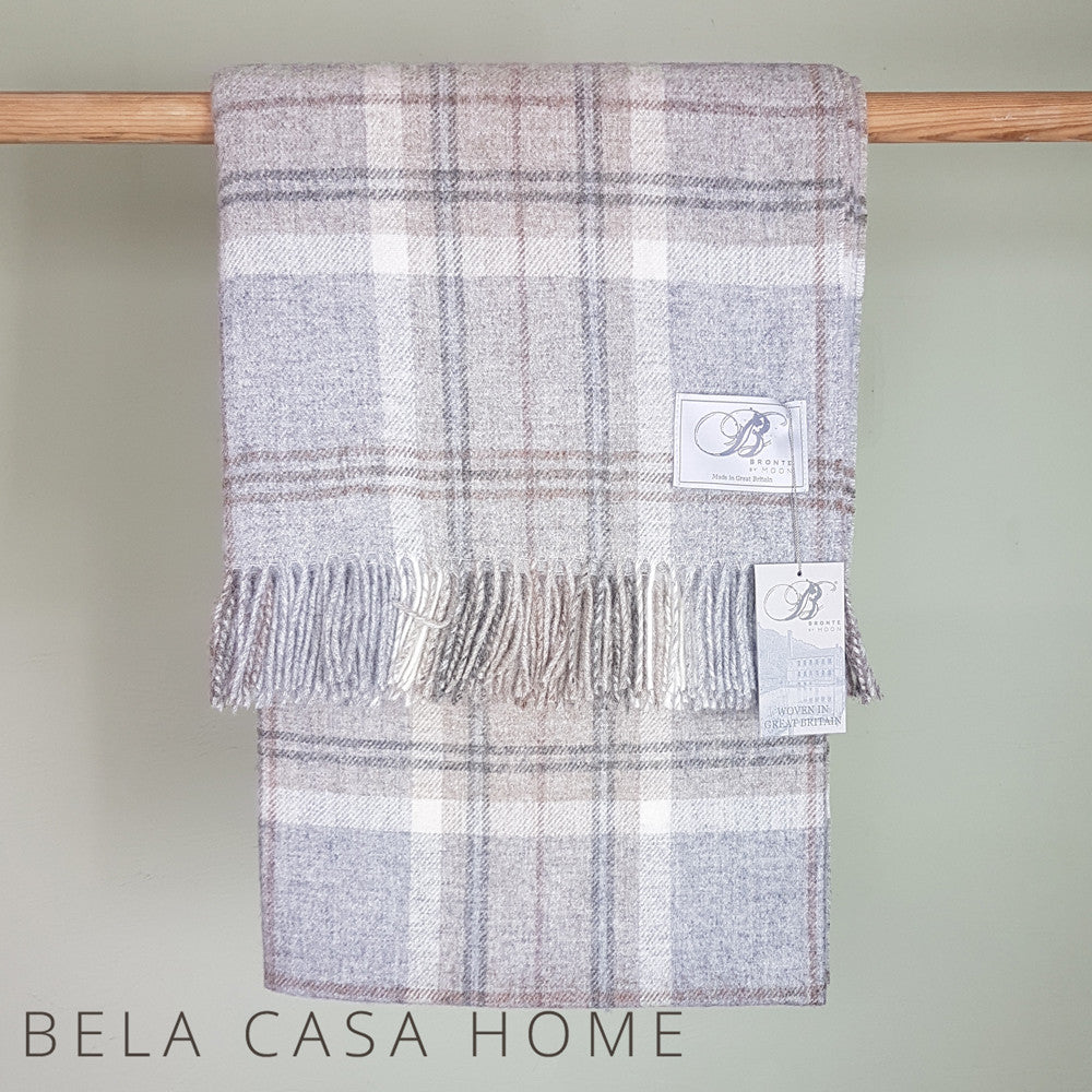 Bronte Aysgarth Grey Pure New Wool Throw and Cushion