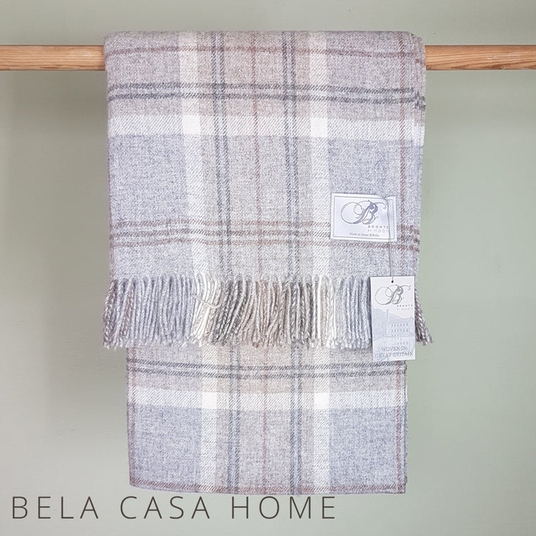 Bronte Aysgarth Grey Pure New Wool Throw