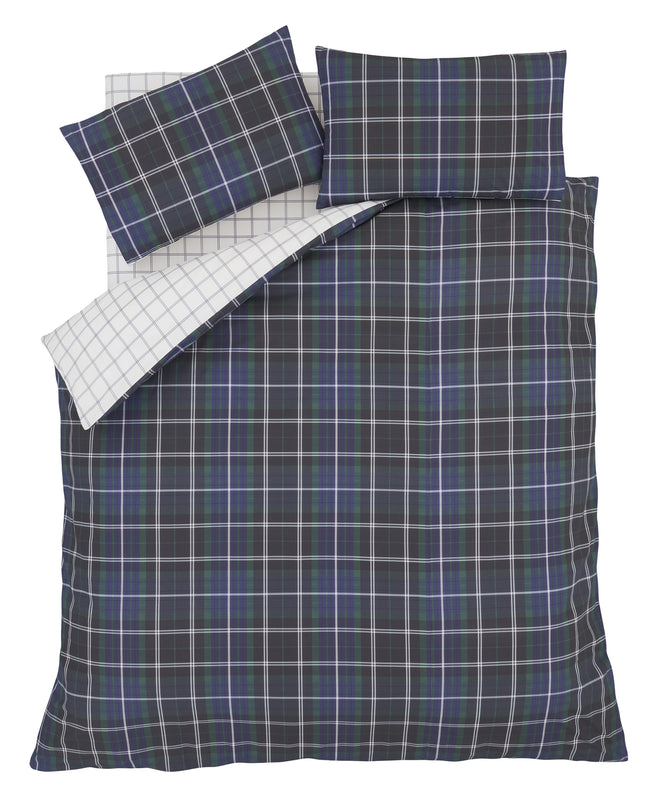 Country Check Navy Tartan Brushed Duvet Cover