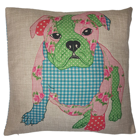 One Of A Kind Patchwork Bulldog 43x43cm Cushion