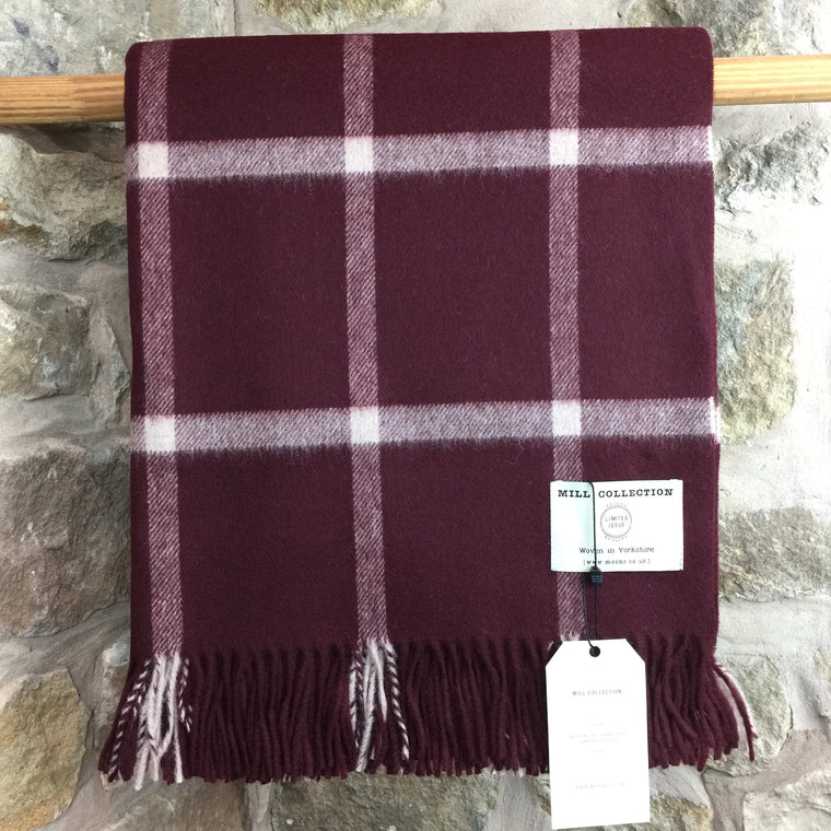 Burgundy Check Pure New Wool Throw