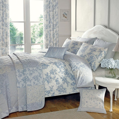 Button Street Farmhouse Blue Floral Duvet Cover
