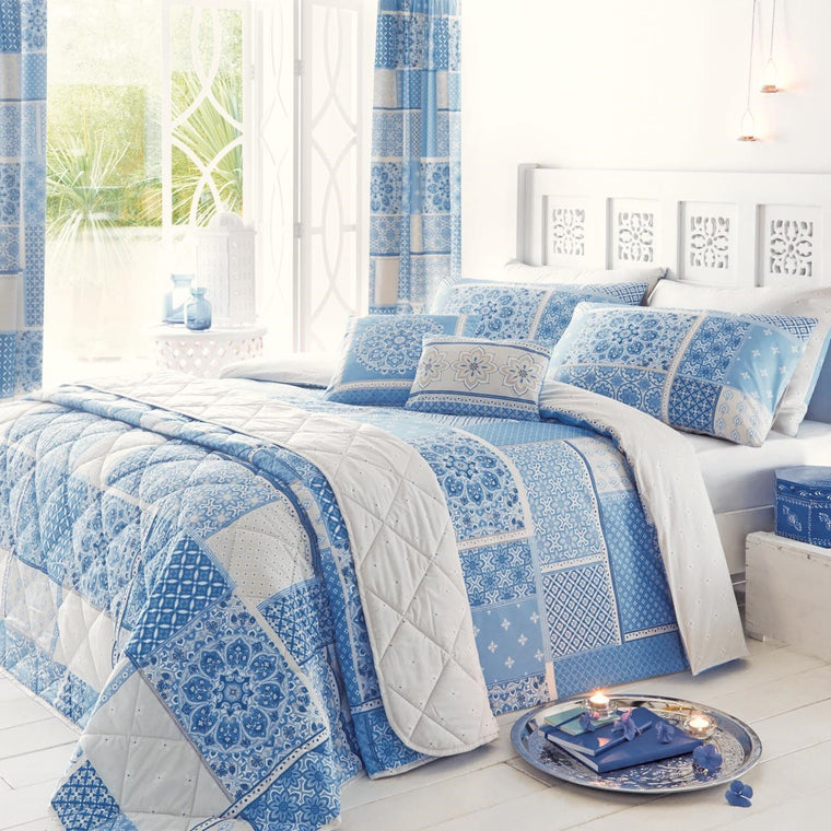 Button Street Farmhouse Blue Vintage Patchwork Duvet Cover