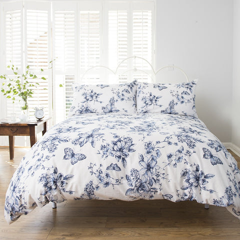Button Street Butterfly Floral Blue Duvet Cover