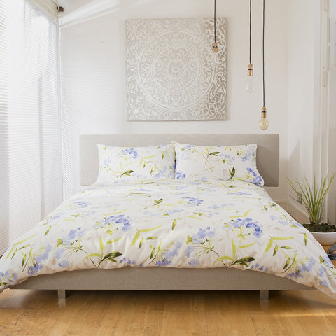 Button Street Farmhouse Limerick Garden Blue Duvet Cover
