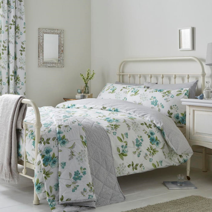 Button Street Green Floral Duvet Cover Set