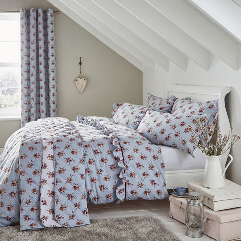 Button Street Vintage Cottage Floral Duck Egg Duvet Cover