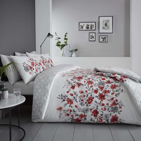 Button Street Wild Poppies Red Duvet Cover