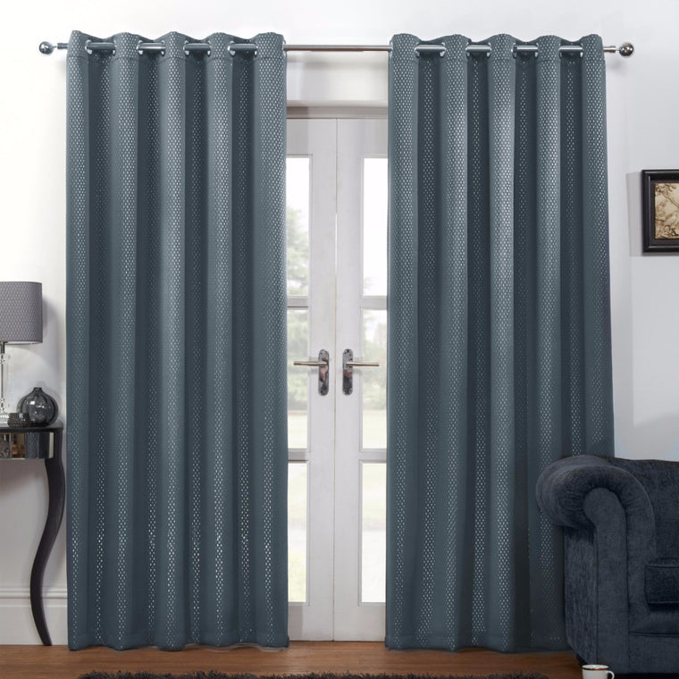Carbon Grey Silver Metallic Ready Made Eyelet Curtains