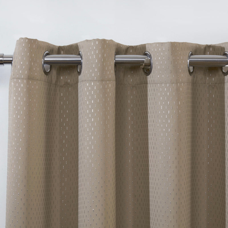 Carbon Latte Metallic Ready Made Eyelet Curtains