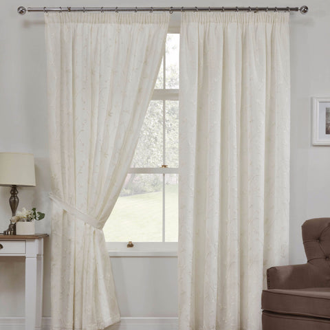 Como Cream Floral Voile Pencil Pleat Ready-Made Curtains