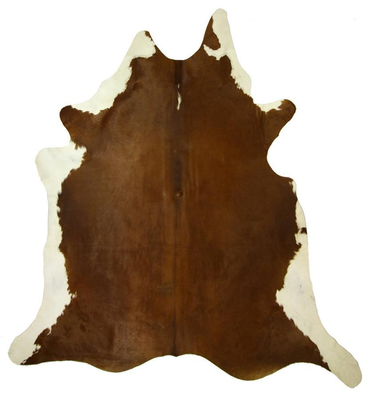 Natural Cowhide Rug - Extra Large Deep Rich Ginger with White Trim.
