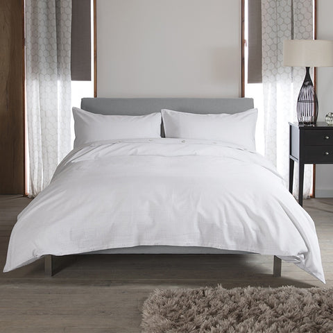 Carla Plain White Cotton Duvet Cover and Pillowcase Set