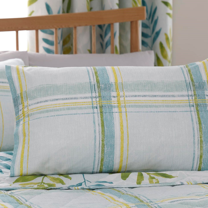 Casa Faded Check Teal Duvet Cover Set