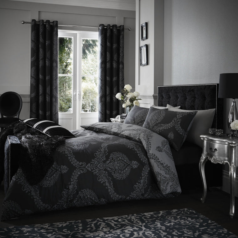 Casa Home Medallion Black and Grey Duvet Cover