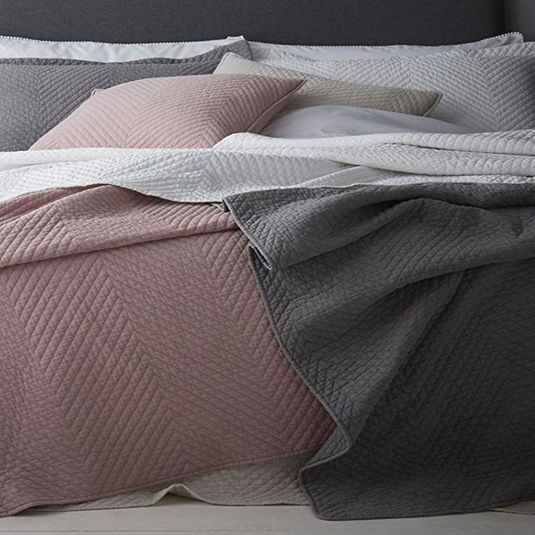 Stone Wash Diagonal Bedspread Grey