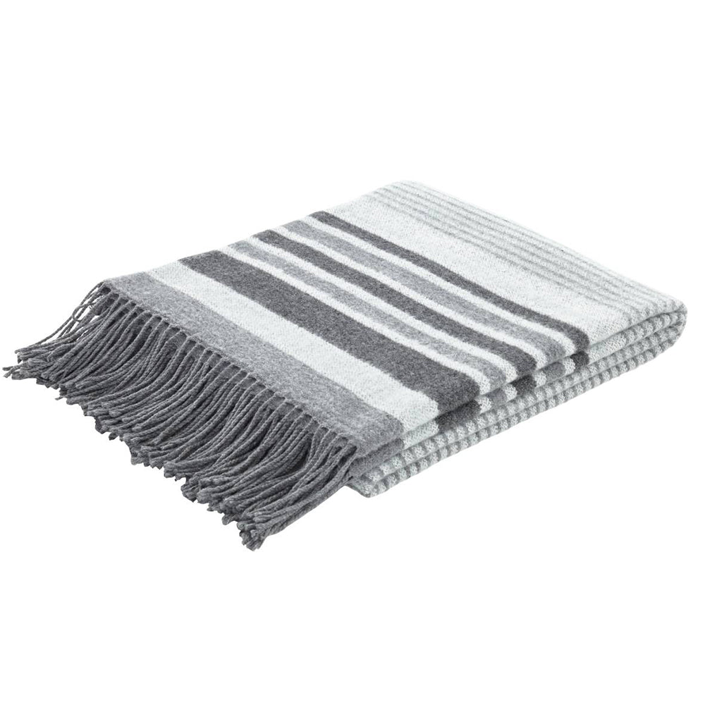 Woven Striped Blanket Grey
