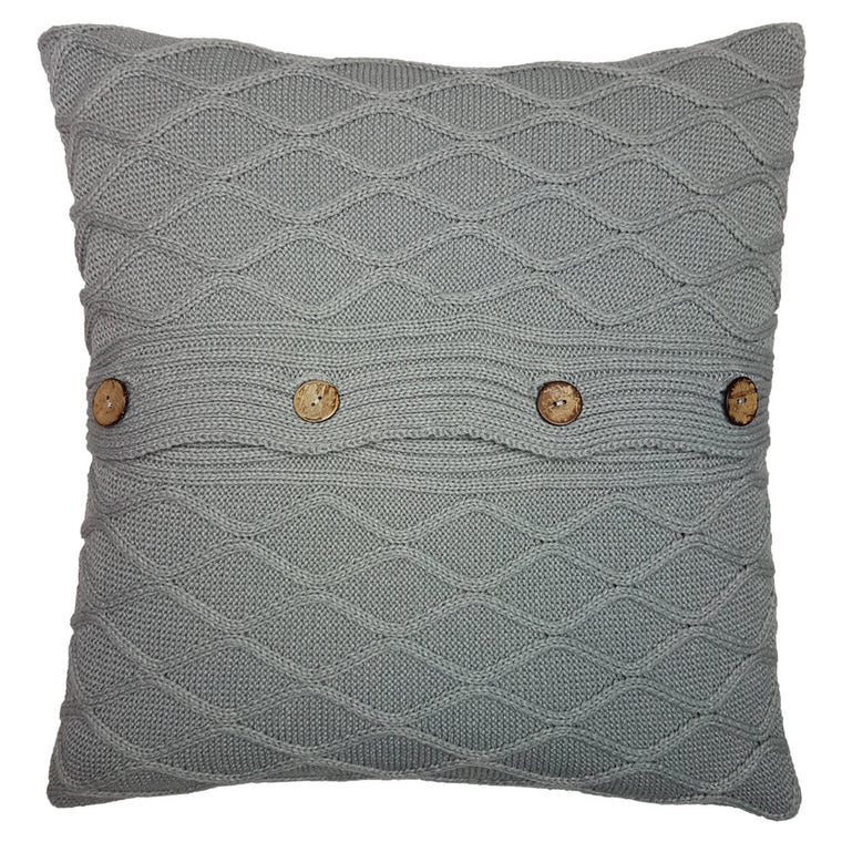 One Of A Kind Grey Chunky Cable Knit 43x43cm Cushion