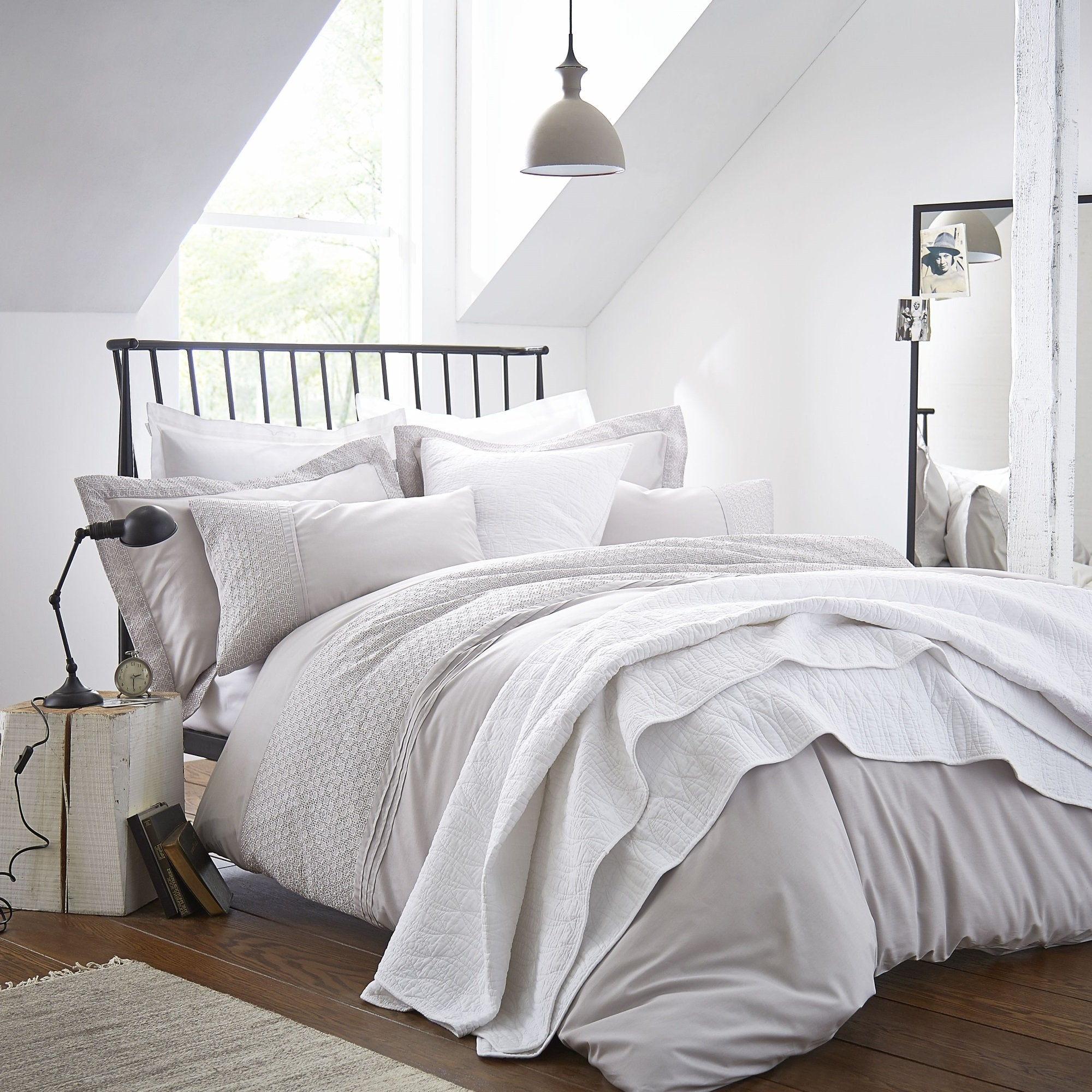 Cotton Casa Embroidered Heaven Grey Duvet Cover