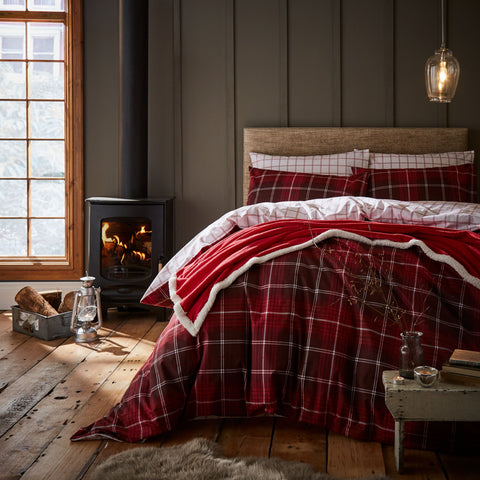 Country Check Brushed Cotton Red Tartan Duvet Cover