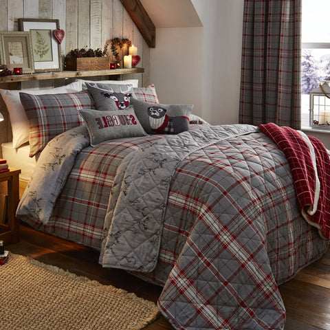 Country Check Silver Brushed Cotton Duvet Cover