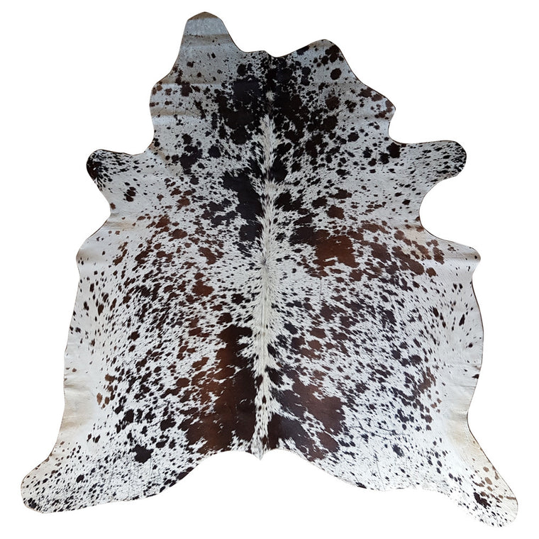 Natural Cowhide Rug - Small Speckled with Natural & Brown Splash