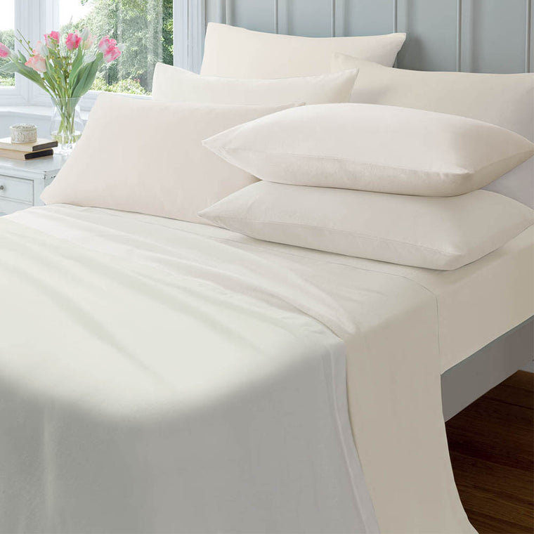 Extra Deep Combed Polycotton Fitted Sheets - Cream